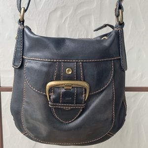Fossil Leather Cross Body Bag Black